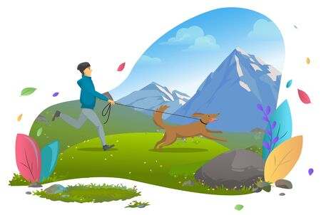 Guy walking or running with dogin mountains. Owner jogging with pet on leash, casual autumn outfit, man and domestic animal, wild nature an mountain tourism. Vector illustration in flat cartoon style