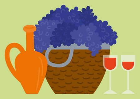 Wine beverage in wine-glass, grape in basket, jar sign. Tasting agricultural drink. Harvest festival in Europe, winemaking fest, bottle and glass. Vector illustration in flat cartoon style Иллюстрация