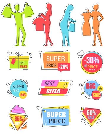 Shopping people silhouettes and banners vector, clearance and sale, discount in shop. Diamond shaped, present gift box with text sample set. Business sale stikers for black friday or season sale Иллюстрация