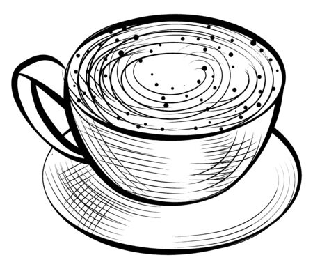 Cup of coffee, aroma beverage with foam, latte or cappuccino beverage. Vector isolated hot drink on saucer, cup with handle. Espresso in dishware, caffeine