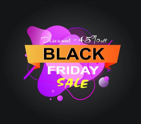 Black friday discount vector, 45 percent off price, isolated banner with stripe and percentage special promotion and clearance of shops, market cost. Vector illustration in flat cartoon style