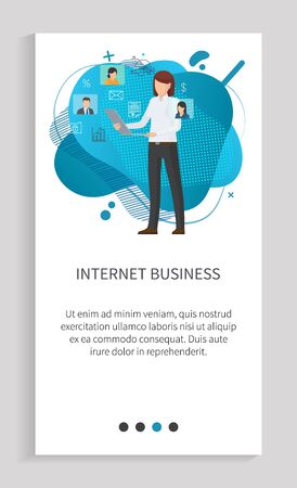 Internet business of woman, worker standing with laptop, employee working with computer, online communication, wireless device, development vector. Website or app slider, landing page flat style