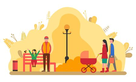Family at autumnal park, man and woman with pram walking. Grandfather with kid, child happy to be on nature. Autumn season, lanterns and wooden benches. Vector illustration in flat cartoon style