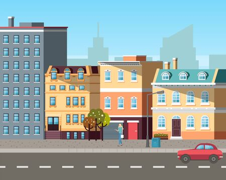 Empty street, sun light on buildings colored in different shades. Cars driving on roads, city life with transport and residential property of people. Old town appartmens Vector in flat cartoon style
