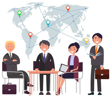 Smiling workers together, employees conference and report. International business, map with locations, worldwide connection, people corporate. Multinational team. Connect business different countries Illustration