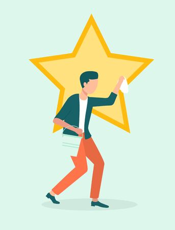Man polishing star or ego, narcissim and egoism concept. Human flaw, narcissistic male character, egoistic and self-affected guy, showing off. Vector illustration in flat cartoon style Illustration