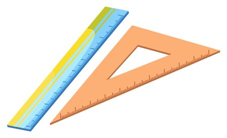 Blue ruler vector, isolated icon of device for measuring object for precision. Triangular ruler. Item decorated with dots, made of plastic material school supply. Back to school concept. Flat cartoon