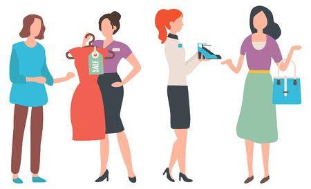 Modeberater des Kunden, isolierte Einkaufsfrau mit Handtasche. Berater, der dem Kunden des Ladens Kleid und Schuhe zeigt und Kleidung kauft. Saisonverkauf. Vektorillustration im flachen Cartoon-Stil