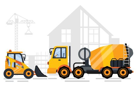 Tractor and concrete mixing machine side view, shadow of concreting project and crane. Construction equipments, engineering outdoor, automobile. Vector illustration in flat cartoon style Иллюстрация