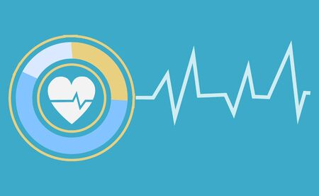 Cardiology logotype, heart in circle with curve line. Icon for app service, healthcare element, diagnosis device, cardiogram shape, rhythm symbol. Vector illustration in flat cartoon style Иллюстрация