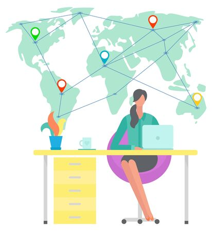Distant worker vector, woman working on laptop character with computer. Female sitting by table with gadget, world map locations points. Multinational team. Connect business from different countries