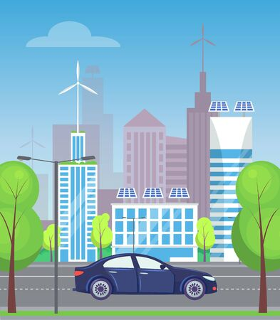 City street, road with trees and greenery. Car riding along skyscrapers and buildings, contemporary megapolis skyline, cityscape infrastructure. Vector illustration in flat cartoon style Vecteurs