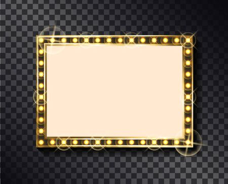 Rectangular glittering frame with neon light bulbs isolated on transparent background. Vector right-angled sparkling border, empty banner with place for text Illustration