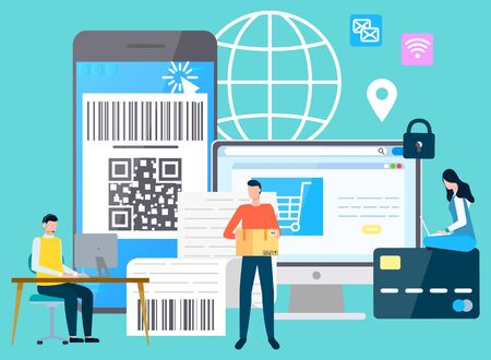 Smartphones and computer with payment security, shopping and delivering. Online system of paying money, characters with laptops. Vector illustration in flat cartoon style