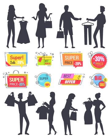 People shopping in store silhouette vector, isolated banners and character with bags and purchased products. Super sale on Black friday, discount and promotion set. Business sale stikers. Flat cartoon  イラスト・ベクター素材