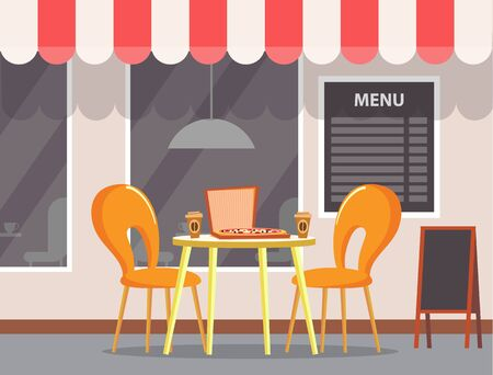 Table with pizza and coffee plastic cups. Pizzeria cafe, exterior of bistro shop with canopy on roof. Seats for people, eating meal outside. Vector illustration in flat cartoon style