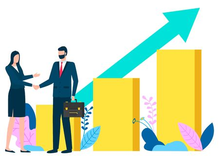 Man and woman handshake of business partners, people by infochart with growing arrow. Successful meeting, companies collaboration achievement. Vector illustration in flat cartoon style