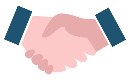 Shaking hands symbol, element of broker collaboration. Symbol of partnership, businessmen meeting, financial teamwork, handshake sign, company. Vector illustration in flat cartoon style