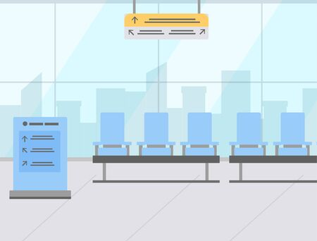 Blue airport seats in waiting area and wayfinding signage flat design. Panoramic windows view. Hall departure lounge modern terminal concept. Vector illustration in flat cartoon style