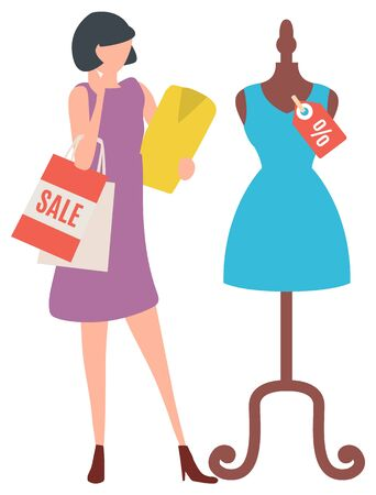 Woman stand with bag and look on blue dress on mennequin in departure store. It sale time and clothes selling with discounts. Vector illustration in flat cartoon style 向量圖像