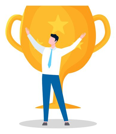 Victorious person, man with trophy. Male wearing formal clothing, prize with star, golden cup with handles. Winner victory in business. Vector illustration in flat cartoon style Ilustrace