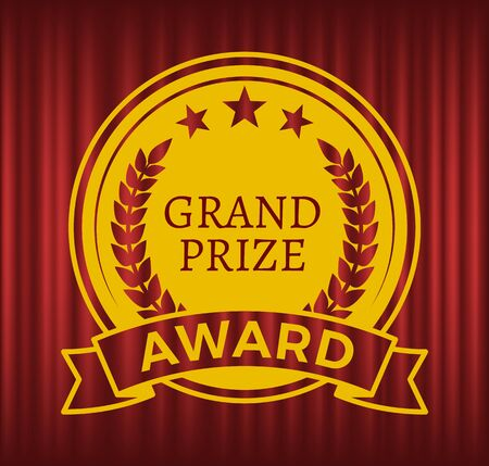 Grand prize award vector, prize isolated on red curtain theater background. Championship and success, successful badge sketch with laurel branches and foliage