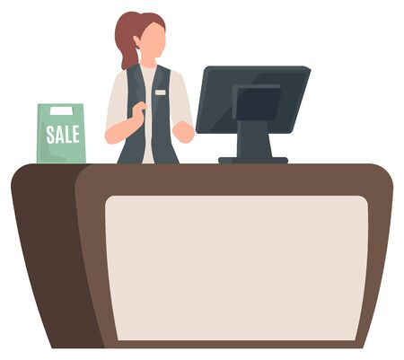 Cashier at shop, isolated character working in store. Desk counter with computer and sale sign. Shopping and paying for purchased products. Vector illustration in flat cartoon style 일러스트