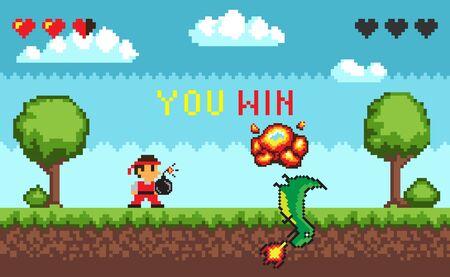 Interfaz de juego de píxeles de computadora, personaje pixalado sosteniendo una bomba de pie cerca de un dinosaurio derrotado con fuego, vista de retrato de 8 bits del monstruo de la lucha y el personaje, batalla de héroe en el videojuego, ganas el duelo