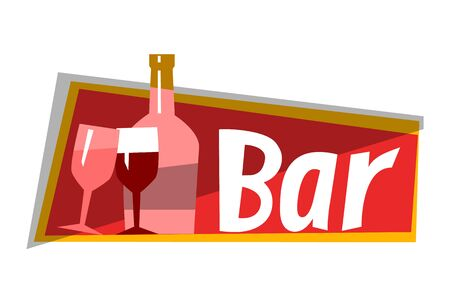 Alcohol bar isolated on white. Bottle with red wine, glass elements, icons. Perfect for restaurant, cafe, catering bar sector. Vector illustration in flat cartoon style