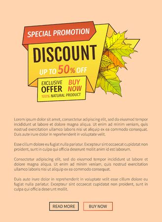 Special promotion discount on Thanksgiving day, exclusive offer buy now natural product poster with maple leaves. Vector autumn sale coupon, yellow foliage  イラスト・ベクター素材