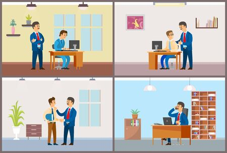 Work in office daily routine, boss and employee. Worker control and good job, working task and phone negotiations, interior vector illustrations. Иллюстрация