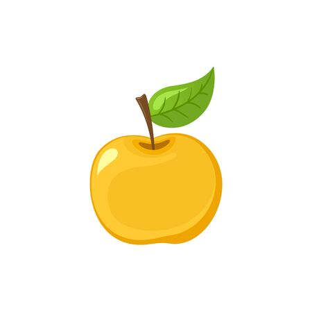Ripe apple with leaf on top isolated vector illustration. Vegetarian organic juice product, yellow fruit tasty dessert. Fruity veggies realistic icon Иллюстрация
