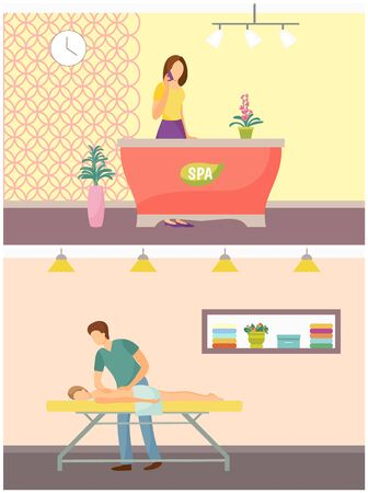 Spa salon reception and massage of skillful masseur wearing uniform. Procedures relaxing rubbing of clients back, receptionist talking on phone vector
