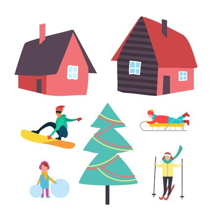 Skiing and winter seasonal hobbies set vector. Snowboarder and skier, people with active lifestyle. Kid with balls of snow, sledges and Christmas tree Illustration