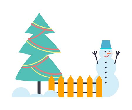 Snowman winter holiday character in bucket standing near fence with decorated Christmas tree. Funny creature created with compressed snow vector isolated