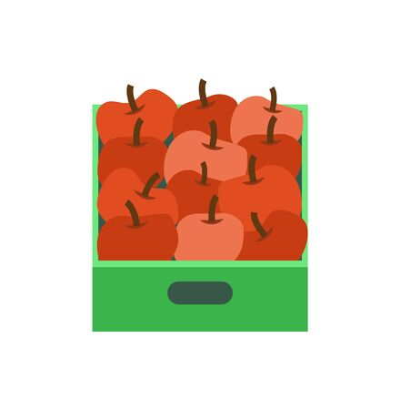 Shelf with apples in supermarket grocery store, vector retail market isolated icon. Tray with tropical fruits, fresh plants in container or package
