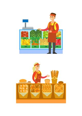 Supermarket bakery and fruits department vector. Salesperson with baked bread and baguettes. Seller with watermelon, apples and pineapples on shelf Иллюстрация