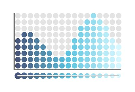 Graphic chart, representation of information report vector. Timeline with growing and falling down circles. Infographic flowchart with business data Ilustração
