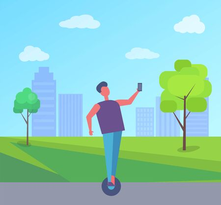 Man riding and taking selfie in city park with buildings and green trees. Male on two-wheeled motorized personal vehicle fun outdoors vector