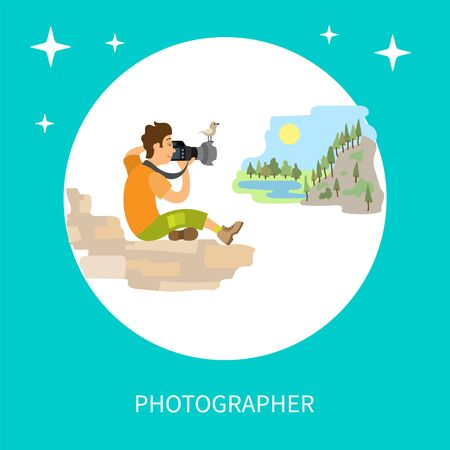 Photographers taking picture with photo equipment. Photojournalist and reporter sitting on stones making photo of mountain landscape vector circle frame Иллюстрация