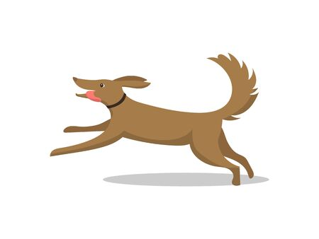 Pet dog running breed with tongue isolated vector. Mammal wearing collar on neck, happy and friendly animal. Domestic mammal on walk, active puppy Çizim