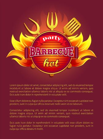 Party barbeque grill leaflet tools for grilling, fork and paddle, spatula and flame sparkles. Vector poster burning badge, text sample. Bbq container with coals