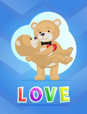 Couple Teddy Bears, love theme, vector placard. One with butterfly tie holds the other in arms, plush toys, Valentine day card design, cartoon style 일러스트