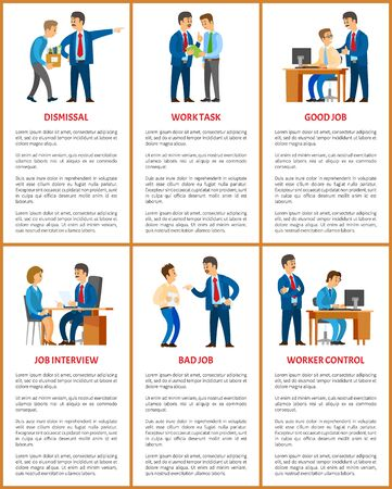 Office work, boss and employee relationships. Dismissal and task, job interview and worker control, clerk with manager, business vector illustrations.
