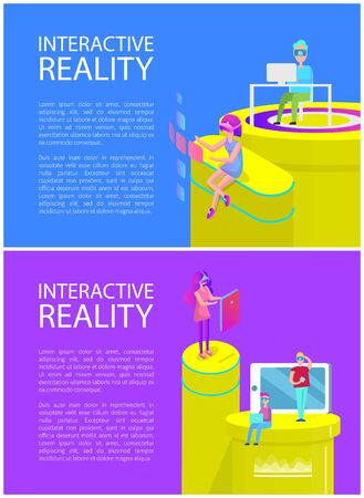 Interactive reality interaction of people and cyberspace. Vr glasses and modern technologies, laptops and mobile phones used by man and woman vector