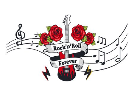 Rock n roll forever, electric guitar with roses and banner with text vector. Notation, music sheet with notes and sounds. Lightning string instrument