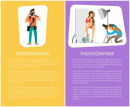 Photographer making photo session of girl in bikini swimwear and professional journalist with tripod and special camera gear equipment vector posters text