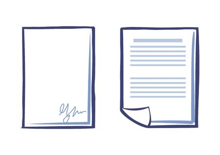 Blank sheet of paper with signature and document with text isolated. Office page with scribble in right corner. Line art signed agreement or contract vector Ilustração