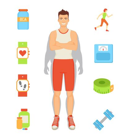 Weight loss person and isolated icons set vector. Man with bcaa, pedometer and pills, dumbbells and running woman. Meter roll and capsule in container