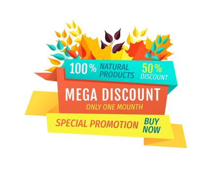 Mega discount special autumn promotion emblem. Half price sale with fall leaves and stripes. Exclusive seasonal offer vector illustration isolated.
